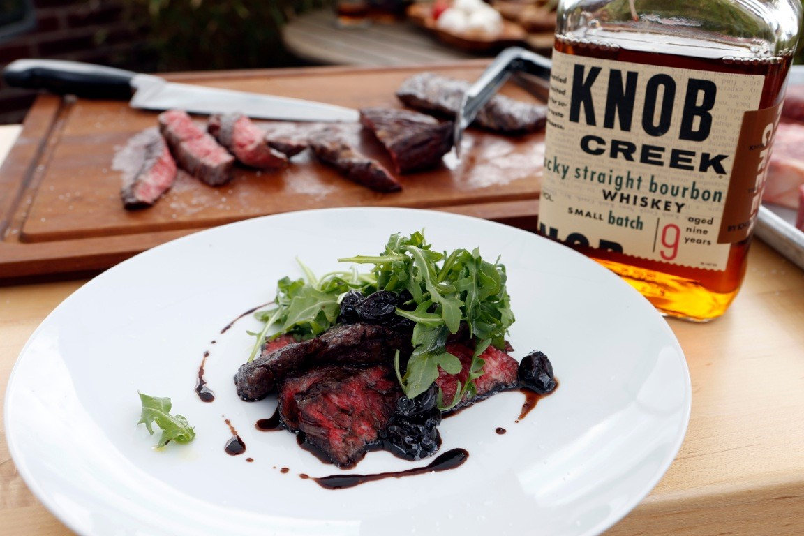 Grilled Skirt Steak with a Balsamic, Cherry & Knob Creek Bourbon Steak