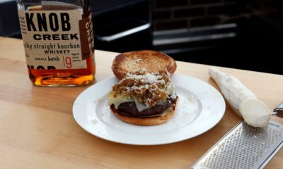 Burger with Knob Creek Caramelized Onions, Gruyere & Horseradish