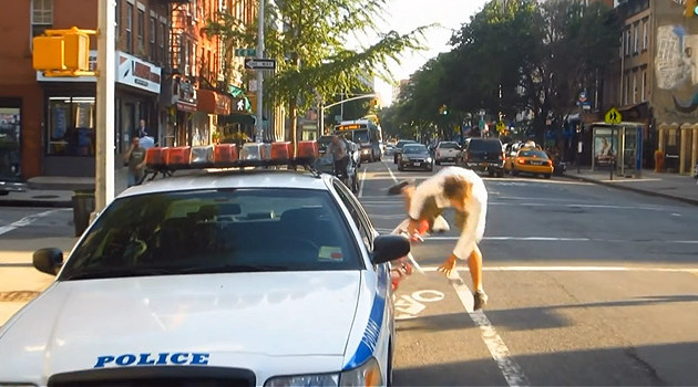 Man Gets Ticket For Not Riding In Bike Lane, Films Himself Crashing Into Things
