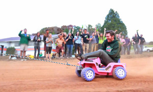 Dale Earnhardt Jr. Riding Around On A Pink Power Wheels Jeep