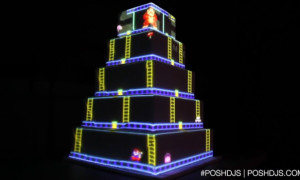 Donkey Kong Projector Wedding Cake