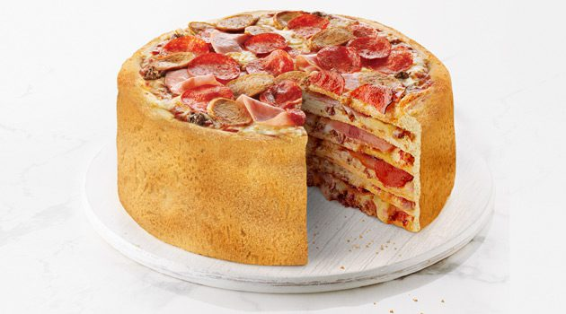 Multi-Layered Cake Made Entirely of Pizza