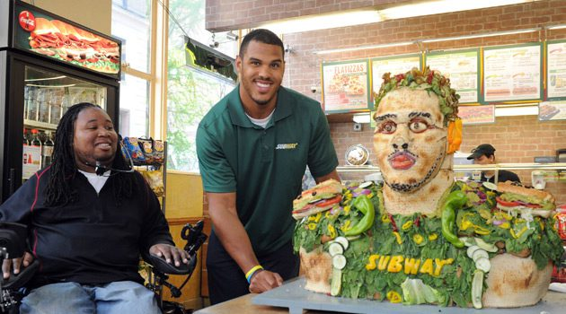 Anthony Barr Unveiled A Life-Size Food Statue Made from SUBWAY Veggies
