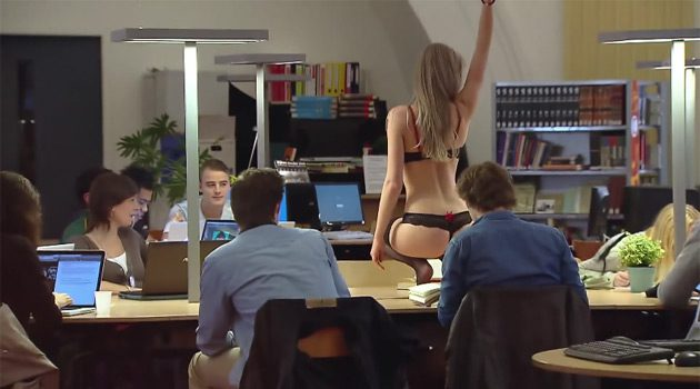 When There's A Sexy Girl Stripping In The Library, It's Hard To Stay Focused