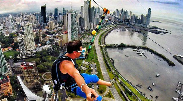 Devin Super Tramp Rides World's Largest Zipline In Panama City