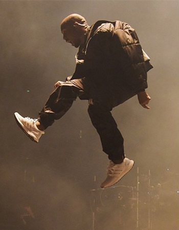 Kanye West rocking the all-white adidas Ultra Boost