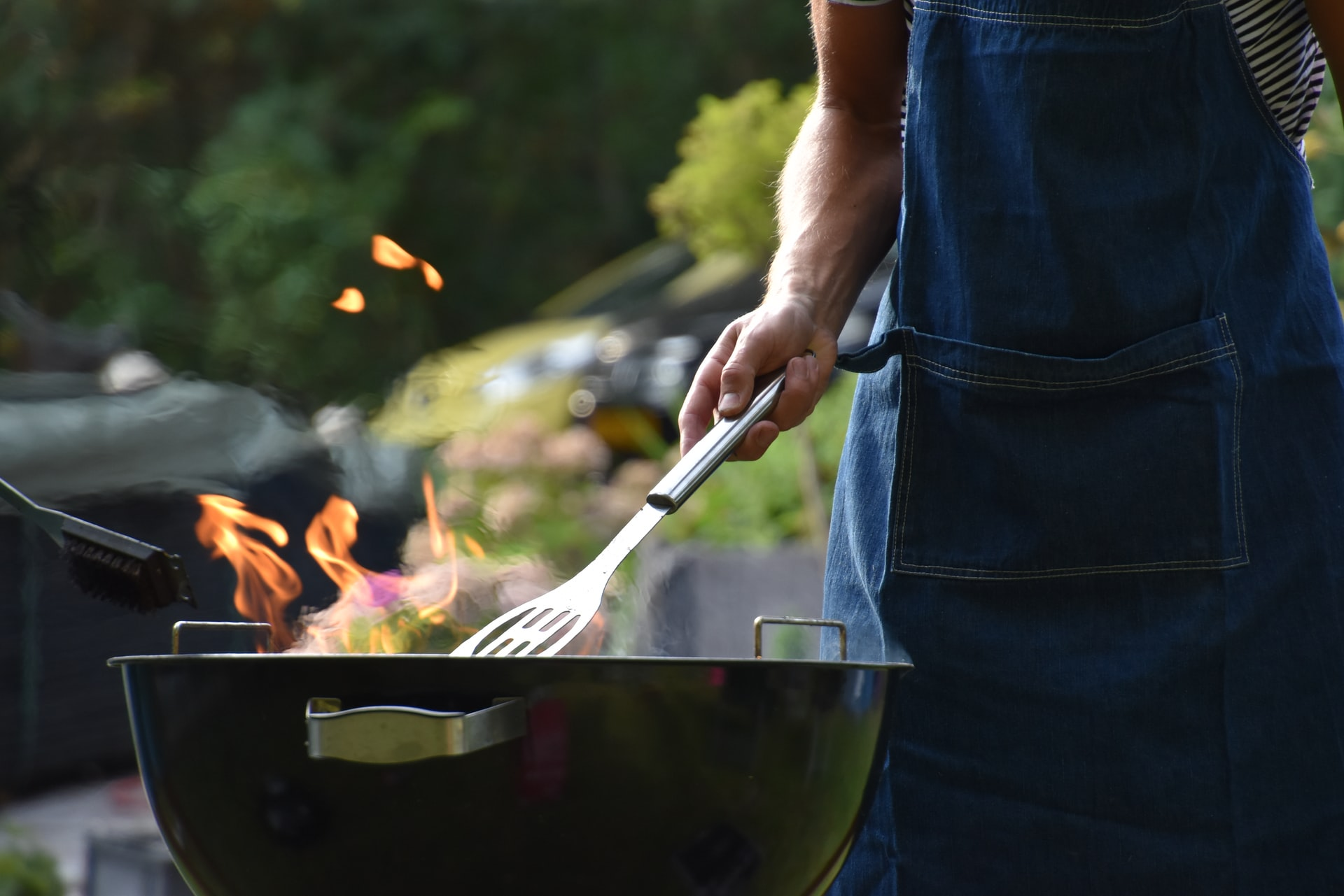 Man cooking on the grill