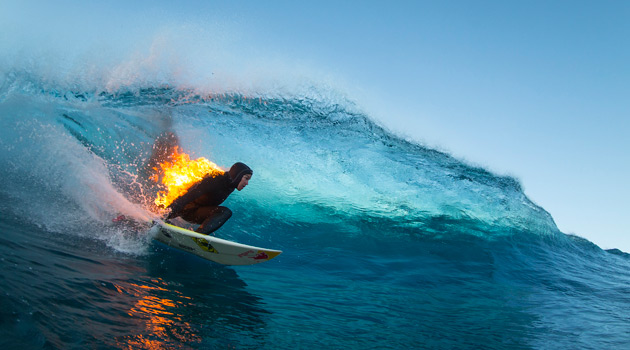 Watch Jamie O'Brien Surf Teahupo'o While Lit On Fire