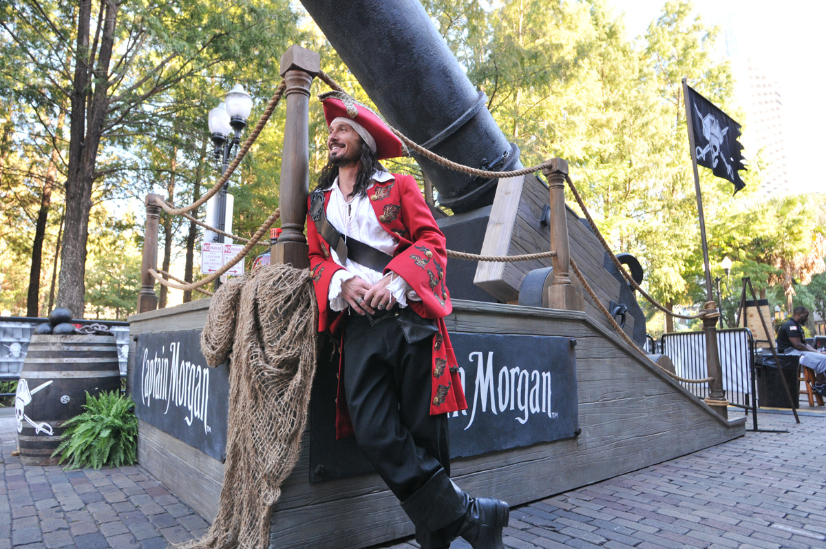 Captain Morgan Next To A Cannon
