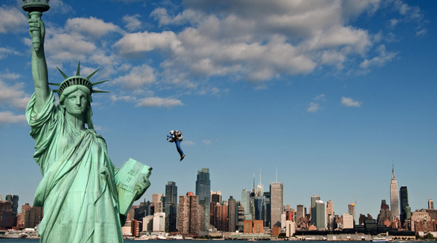 Video Shows Man Flying Past The Statue Of Liberty On A Jetpack