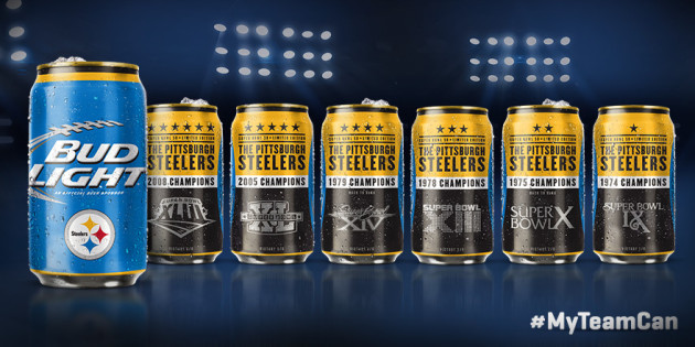 Bud Light Steelers Super Bowl Cans