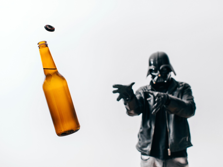 Darth Vader getting a beer
