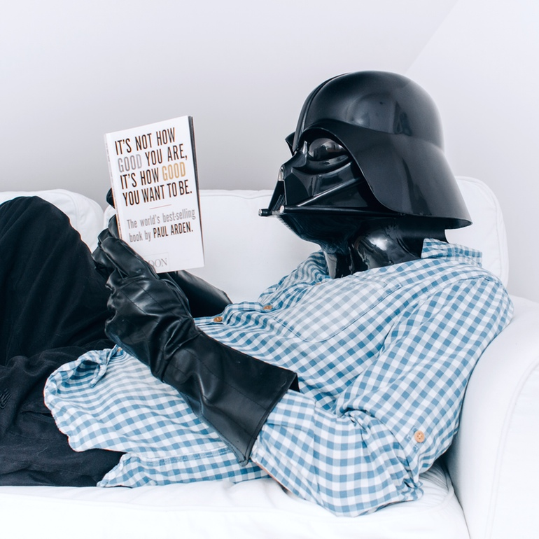 Darth Vader sitting on the couch