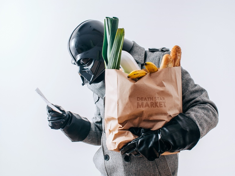 Darth Vader grocery shopping