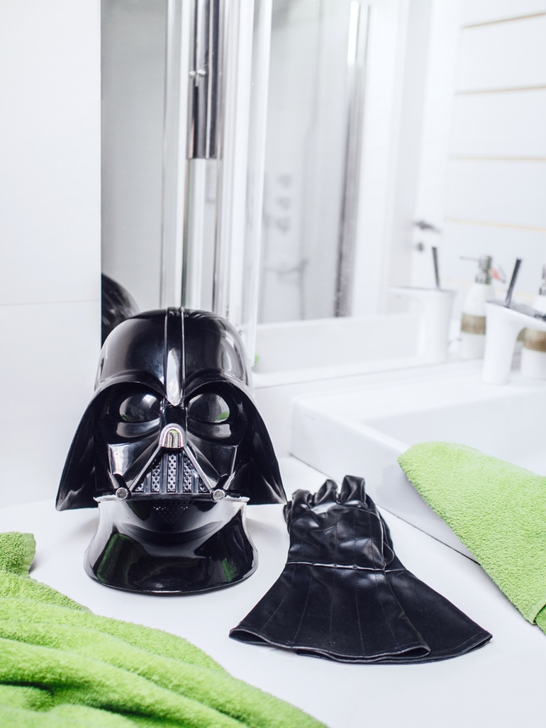 Darth Vader getting a shower