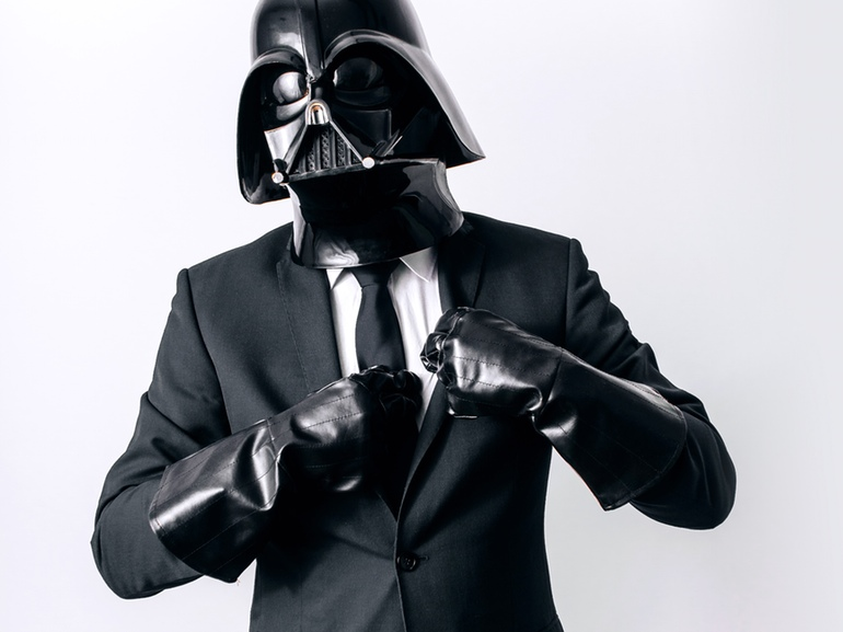 Darth Vader wearing a suit