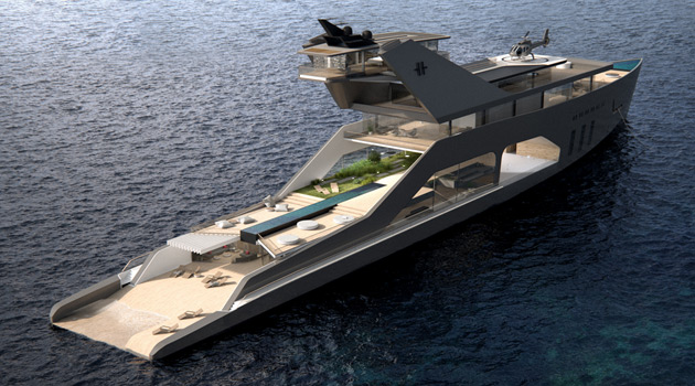 This Outrageous 350-Foot Superyacht Has It All.. Including A Private Beach!