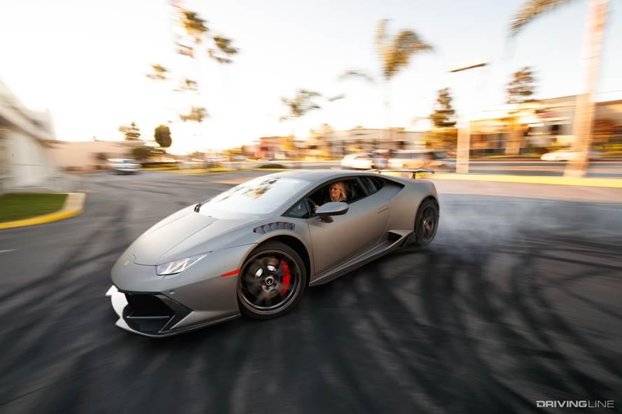 Watch This Couple Drift Their Huracan Around Lamborghini Newport Beach