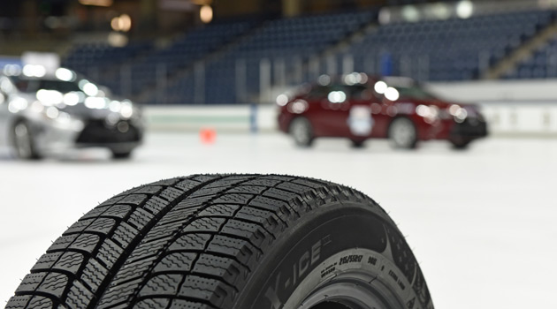 Michelin Demonstrates The Importance Of Winter Tires.. On An Ice Rink!