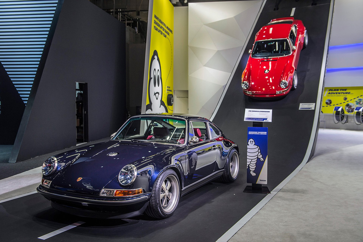 Two Singer Porsches on display at the Michelin booth at NAIAS