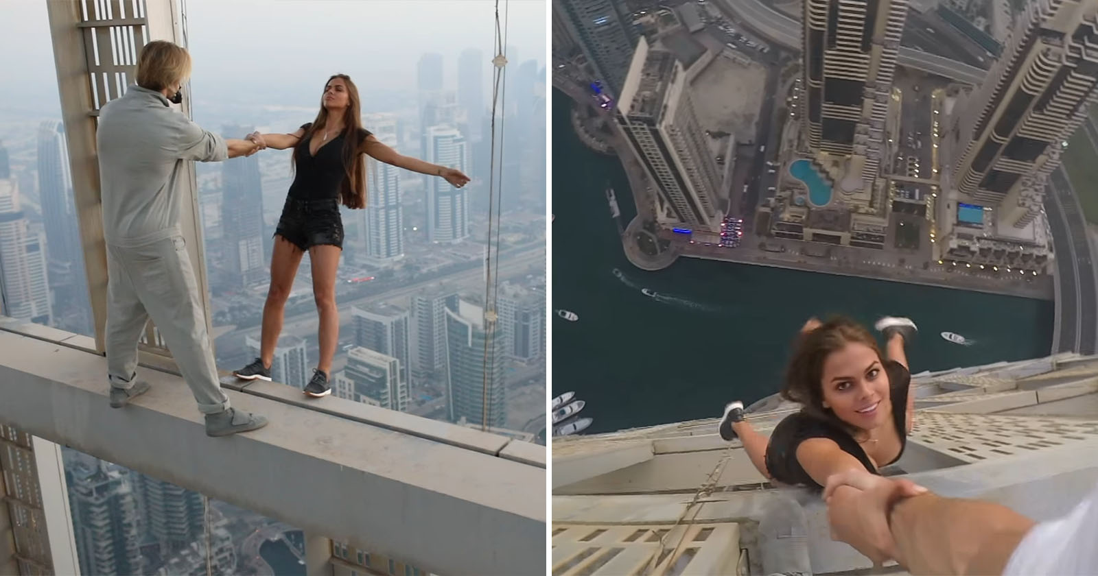 Cayan Tower Selfie Stunt with Viki Odintcova