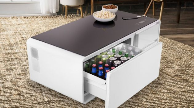 The Sobro Smart Coffee Table Has A Built-In Fridge And Bluetooth Speakers