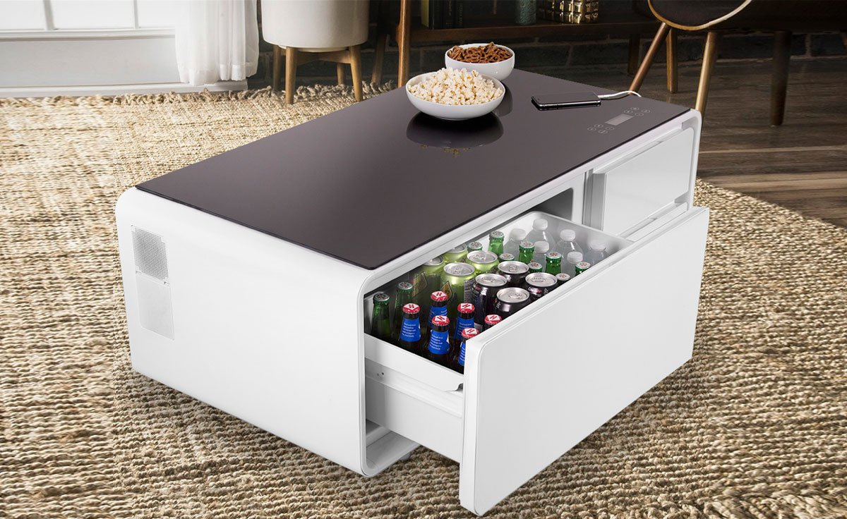 The sobro smart coffee table has a built in fridge and for Table basse rangement bouteille