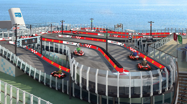 Norwegian's Newest Cruise Ship Will Have A Ferrari Branded Race Track