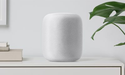Apple HomePod on White Shelf