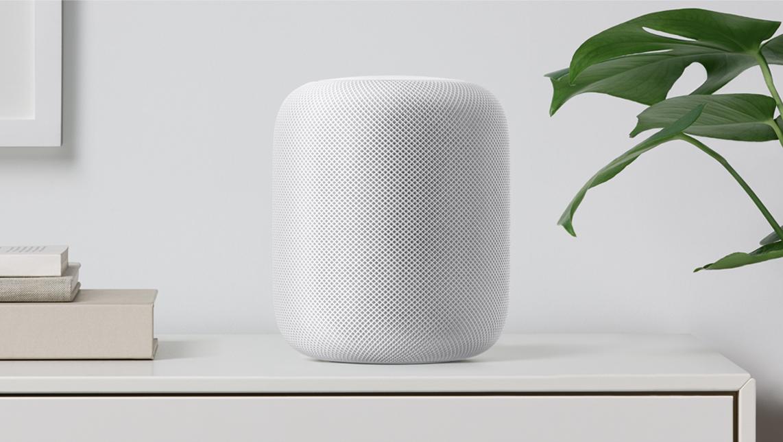 Apple HomePod on White Shelf