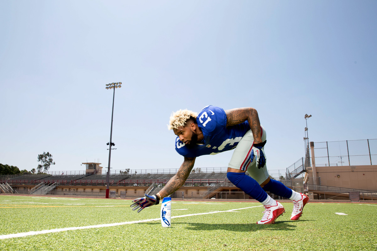 Odell Beckham Jr.  works as Head & Shoulders massage therapist