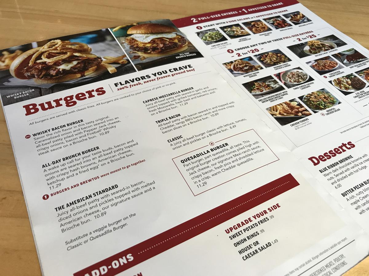 Applebee's Burger Menu