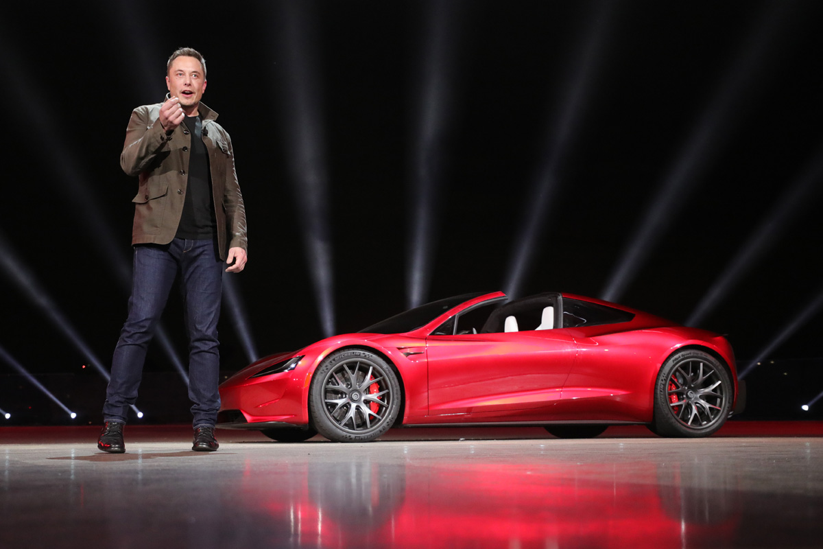 Elon Musk introducing the Tesla Roadster