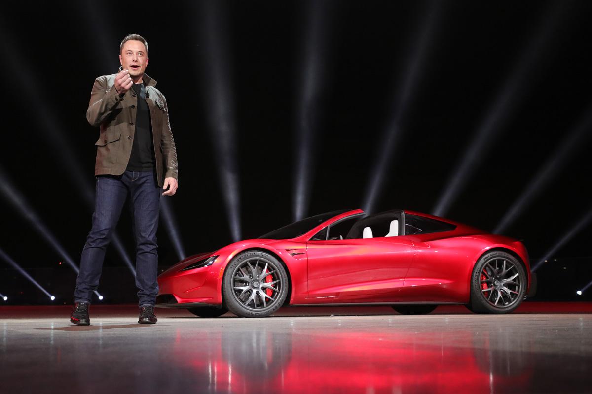 Elon Musk introducing the Tesla Roadster