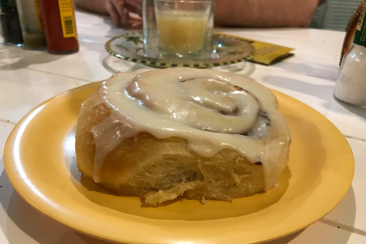Cinnamon bun at Ginny's and Jane E's