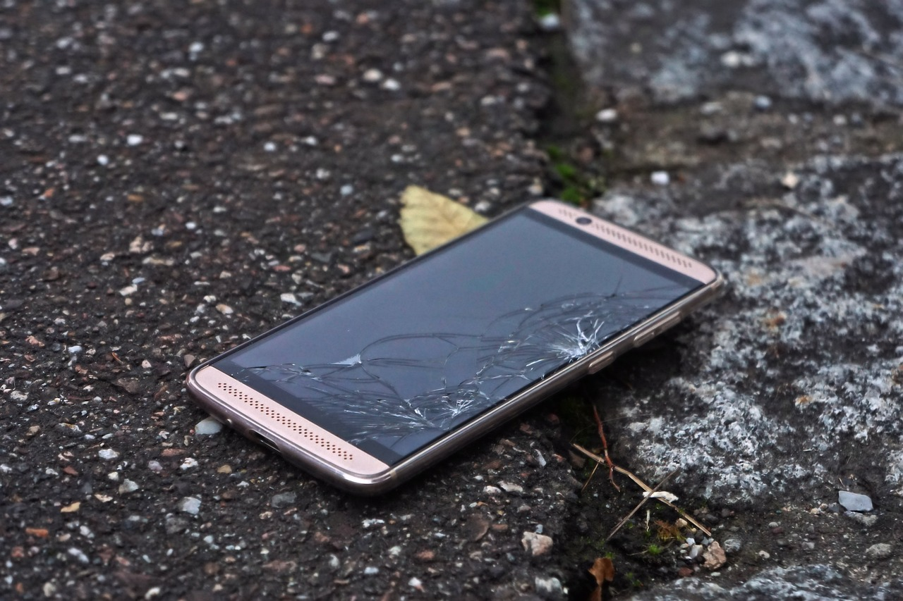 Smartphone with cracked screen