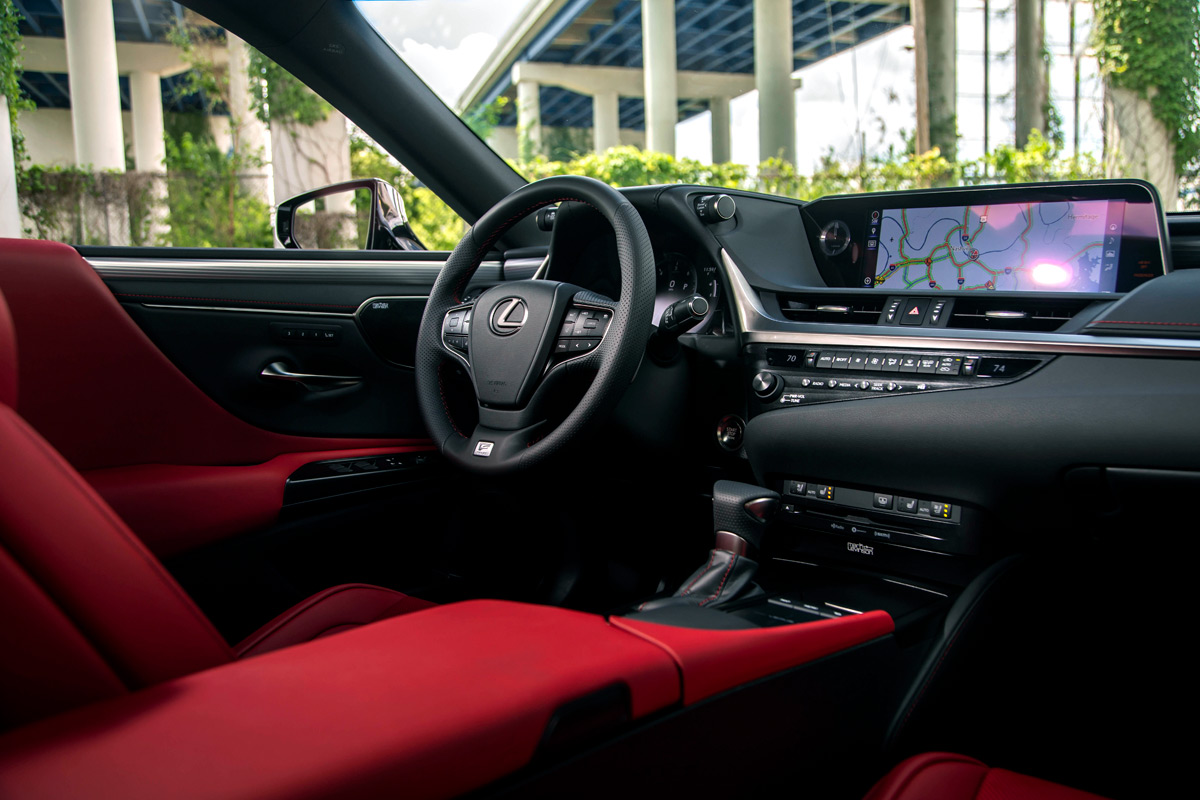 2019 Lexus ES 350 F Sport interior in Flare Red Hadori
