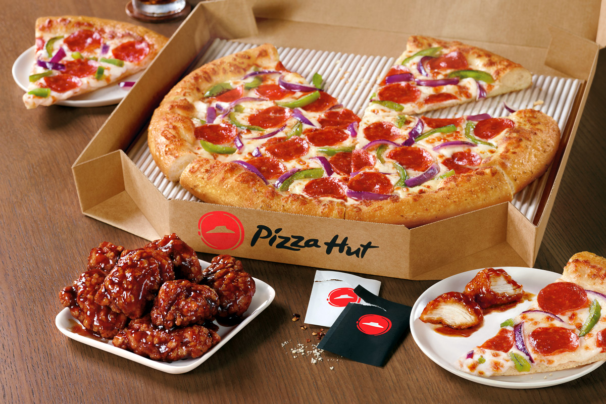 Pizza Hut pizza and wings