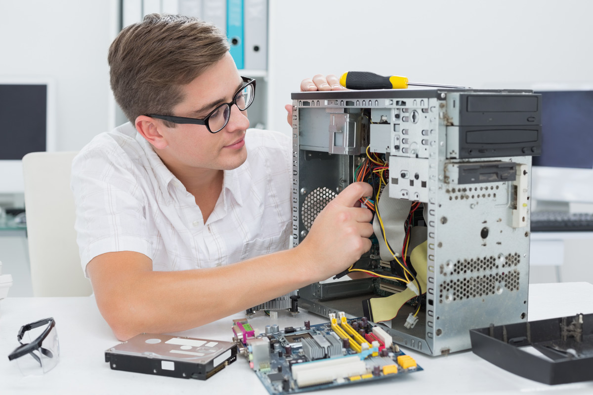 Man putting together a gaming computer