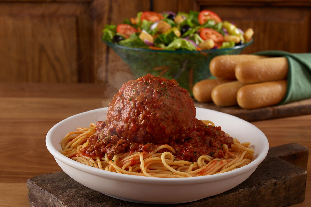 Olive Garden Giant Meatball with Spaghetti