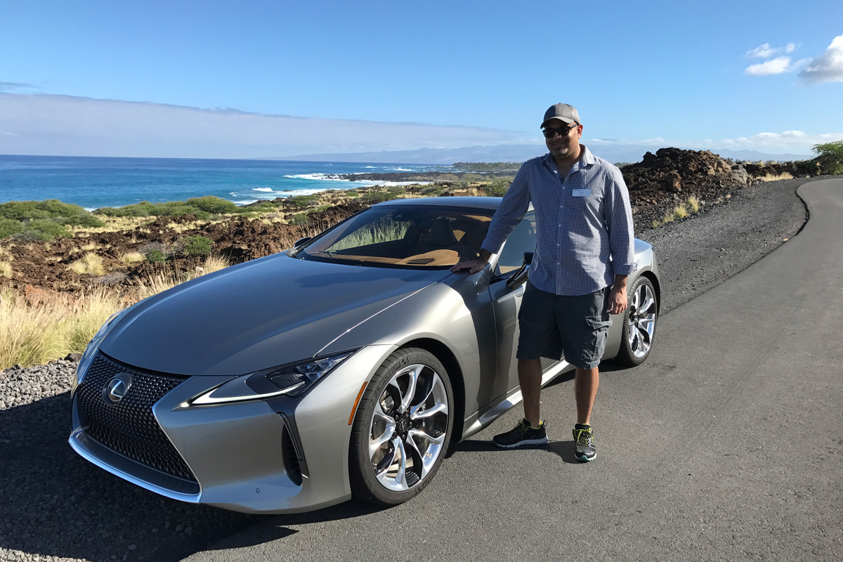 Sujeet driving the Lexus LC in Hawaii