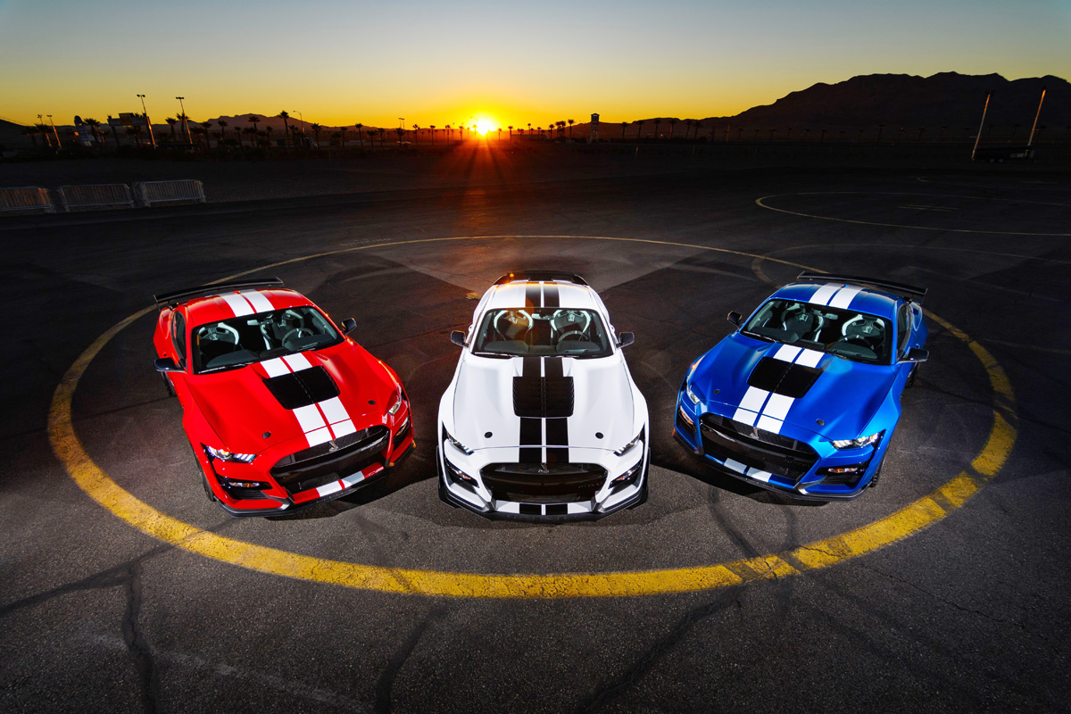 Trio of 2020 Ford Mustang Shelby GT500s