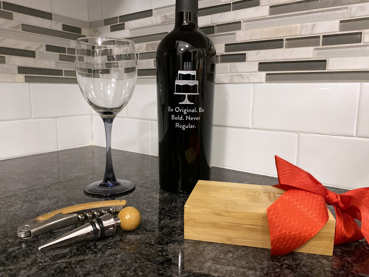 Engraved Bamboo Wine Tool Set & Personalized Wine Bottle from Gift Tree