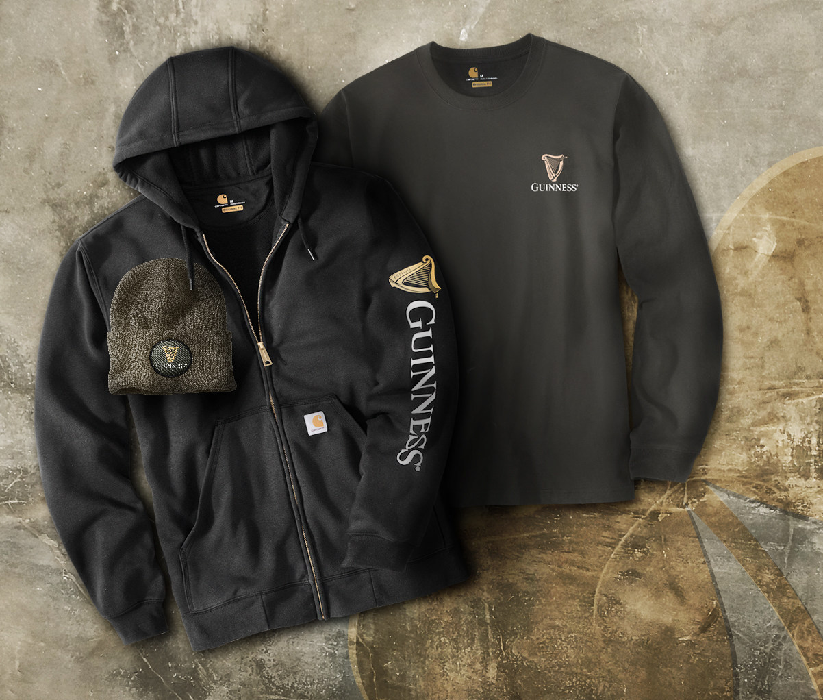 Guinness x Carhartt - Sweatshirt Long-Sleeve T-Shirt and Beanie