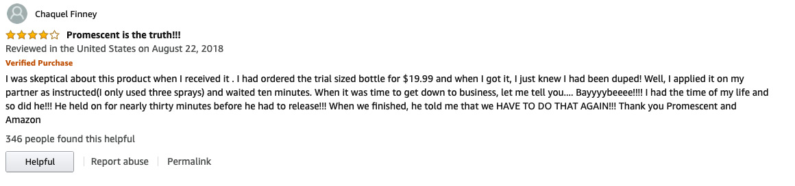 Positive review of Promescent Delay Spray on Amazon