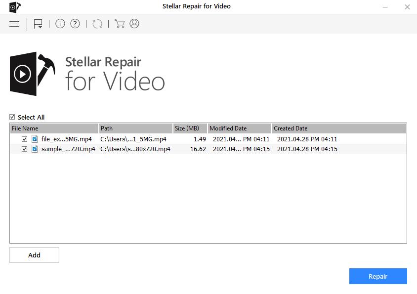 Stellar Repair For Video - Add MP4 files