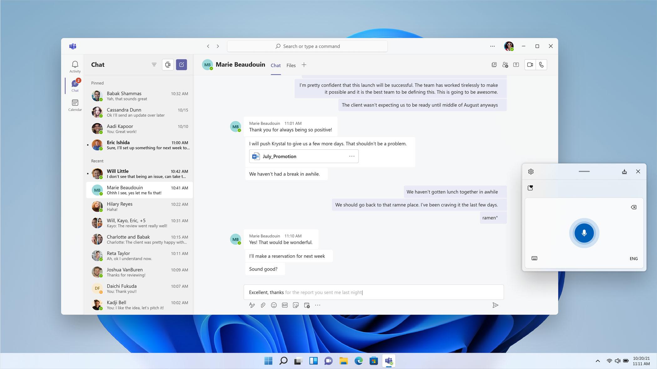 Windows 11 - Voice Typing Screen