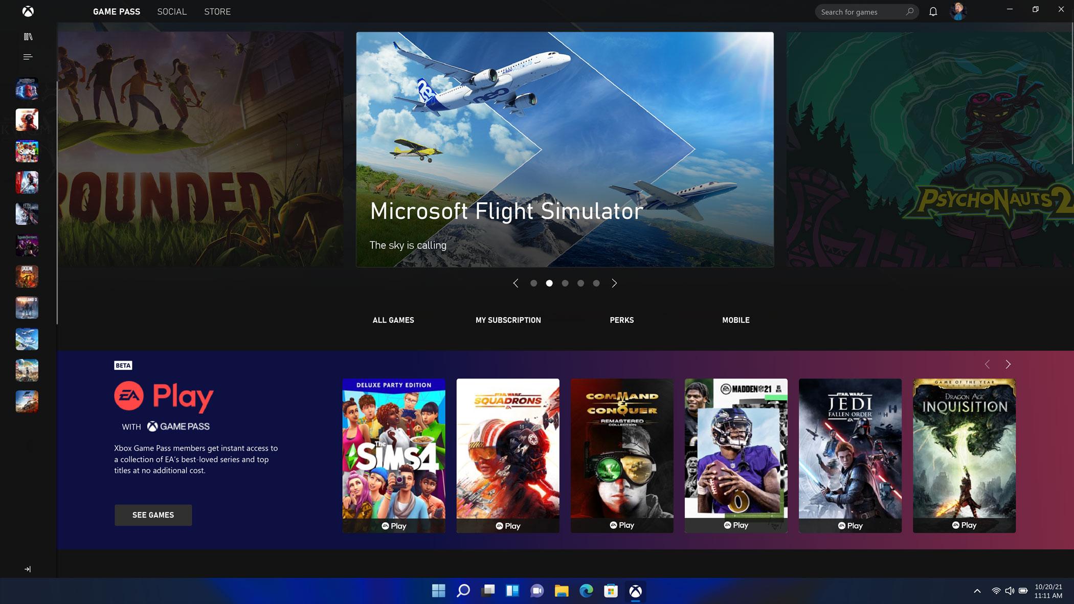 Windows 11 - Xbox Game Pass Screen