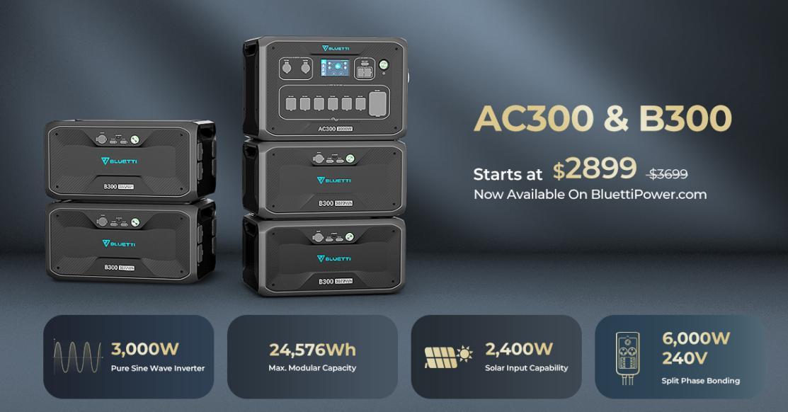 BLUETTI AC300 and B300 sale